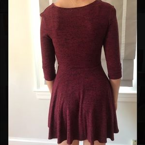 Maroon and black dress